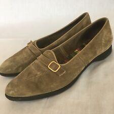 Vintage Hush Puppies Green Suede Flats Baroque Shoes Art Nouveau Retro Sz 6