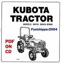 Kubota Tractor B2710 B2910 B7800 OP OPERATORS OWNERS MANUAL GUIDE ON CD-ROM