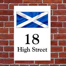 Bandera de Escocia Casa Letrero 9307 con Su a Elegir Texto Patriótico Escocés