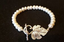 """8"""" silver plated freshwater button pearl bracelet"""