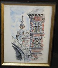 Aquarelle - Guy Petit - Beffroi de Namur - 26x20 cm - encadrement en bois