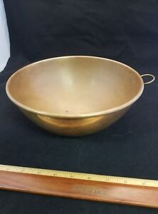 """VINTAGE SOLID COPPER  9"""" CHEF'S MIXING ROUND BOWL with petina JP 2"""