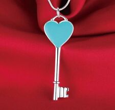 925 Sterling Silver Plated Blue Heart Tag Love Key Lock Pendant Charm  Necklace