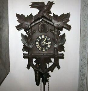 Vintage Hubert Herr One Day Cuckoo Clock Triberg Germany Works Great