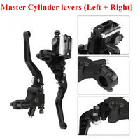 2x Black Motorcycle Brake Clutch Master Cylinder Lever 7/8'' CNC Aluminum Alloy
