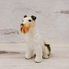 Vintage Porcelain Sitting Airedale Wire Hair Fox Terrier Dog Figurine