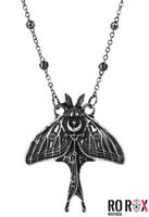 Restyle Gothic Metal Moon Moth Wicca Witchcraft Moon Crescent Pendant Necklace