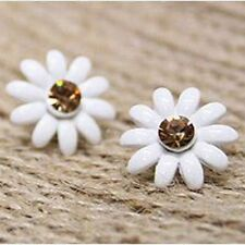 White enamel and crystal daisy stud earrings 50s 60s retro