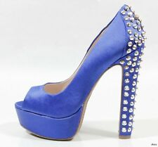 new ZIGI SOHO blue satin open-toe PLATFORMS shoes STUDDED heels 5.5 sexy