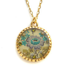 Maximal Art Necklace Autumn Blue Purple Flower Floral Gold John Wind Jewelry