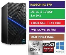 Intel I3-10100f Dell G5 5000 Gaming Desktop PC 8gb RAM 120gb SSD 1tb HDD RX 570
