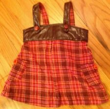 GUESS Baby Girls Plaid Flannel & Faux Leather Jumper, size 18 mo
