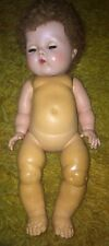 """Antique 13"""" American Character Co. Tiny Tears Baby Doll w/ Caracul Wig As Is"""