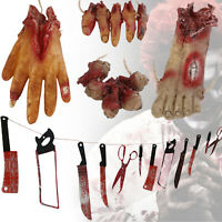 Halloween Hanging Bloody Body Parts Banner Knife Props Weapon Scary Horror Decor