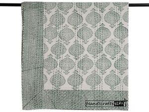 Olive Green Color Blanket Indian Throw Cotton Kantha Quilt Hand Block Bedspread