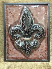 """Fleur De Lis Saints Art Glass Deco Wall Hanging 13x10"""""""