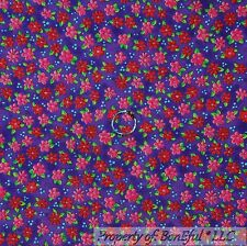 BonEful Old Fabric Cotton Quilt Purple Red Pink Small Flower Girl Dot SALE SCRAP