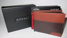 MENS GUESS DOUBLE BILLFOLD BROWN BIFOLD WALLET WITH ORIGINAL GIFT BOX