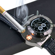 Men Watch USB Cigarette Rechargeable Windproof Flameless Lighter Watches Black