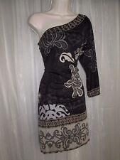 Hale Bob Womens L 10 Black Tan Floral Rhinestone Silk One Shoulder Bodycon Dress