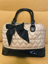 Betsey Johnson Heart Handbags Quilted Gold Heart Faux Leather Black Bow With Emb