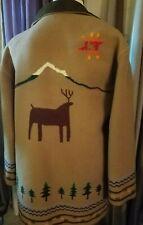 Pendleton Originals Blanket Coat Small Trees Mountain Deer 83% wool Dark Tan