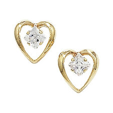9ct Yellow Gold Clear Cubic Zirconia Small Open Heart Studs GER091A