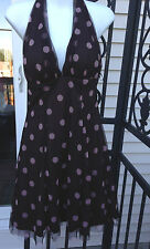 BLONDIE NITES BY LINDA BERNELL Cocktail Halter Dress Junior Sz 7 Brown Pink NWT