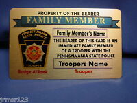 PASP - PENNSYLVANIA  STATE POLICE FAMILY MEMBER - NJSP CARD IN BRASS  PBA- FOP
