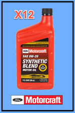 12 X Quarts OEM FORD Premium Synthetic Blend Motor Oil Motorcraft SAE 0W20/5W20