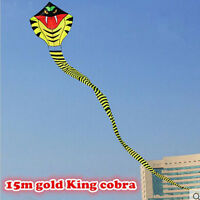NEW 15m tail Power Cobra Snake Kite Outdoor Fun Sports easy to fly Children Toys