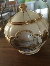 Vintage SADLER Biscuit Barrel with Lid.  Round Globe , Boats And Jetty VGC