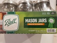 BALL 32oz Mason Canning Jars, Clear - 12 Pack