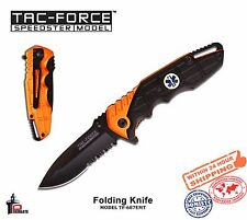 Tac Force Folding Knife Spring Ass. Black Serrated Blade Handle EMT TF-687EMT