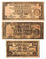 3 diff. Philippines WW2 Bohol guerrilla paper money circ.