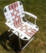 Vtg ALUMINUM Folding WEBBED LAWN CHAIR white red orange yellow beach lounge