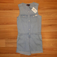 new 7 FOR ALL MANKIND kids girls jeans romper blue S MSRP $60