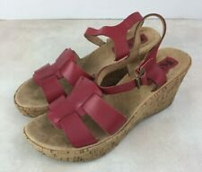 Korks By Kork-Ease Women Size 8 Sandals Pink Leather Open Toe Cork Wedge Heel