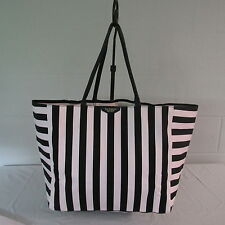 Victoria's Secret Canvas Tote/Beach/Duffle Bag Black/Pink Stripe NEW!