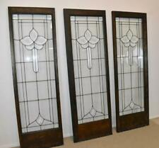 "Three Antique Framed Beveled Clear Glass Door Panels 20 1/2"" x 63 1/2"""