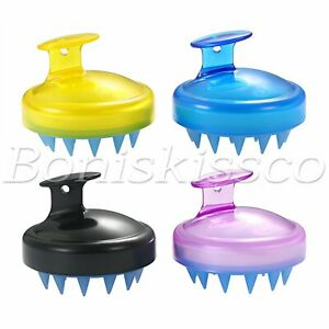 2pcs Silicone Handheld Shampoo Hair Brush Scalp Massage Massager Brush Comb Set