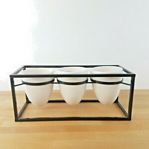 Modern 3 Section Bullet Planter in a Metal Frame- Window Box- House Plants Herbs