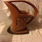 Great Antique Roseville Art Pottery Red Silhouette Basket Vase 709-8