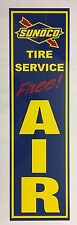 """Sunoco Tire Service"", Blue Sunoco,Gas Station,Free,Air,Sign, Alum,Metal"