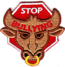 """STOP BULLYING"" - Iron On Embroidered Applique Patch /Words - Bullies"