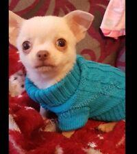 Tiny Puppy Chihuahua 4 OCEAN BLUE Knit Coat Pet Clothes Dog XXXS EXTRA Tiny