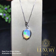 Natural Australian Fire Opal Solid 925 Sterling Silver Necklace with Pendant