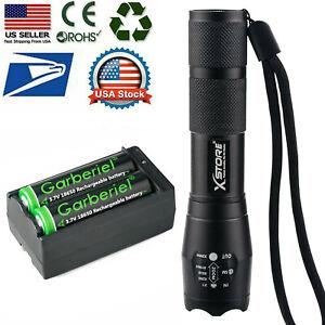 T6 LED Flashlight +2pcs 3.7V Li-ion Battery Rechargeable Batteries +Dual Charger