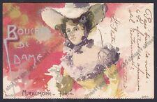 TALMONE CIOCCOLATO TORINO 04 Bouchée de Dame PUBBLICITARIA 1900 illustr ROSSOTTI