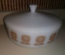 Vintage! Federal Glass Bowl with Lid, 3 1/2 Quart, White with Brown SunFlower